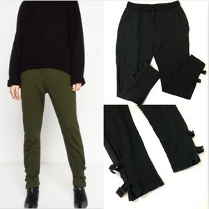 Zara Black Buckle Ankle Joggers Sweatpants Soft